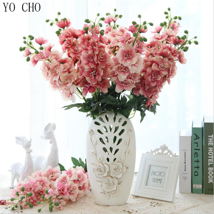 YO CHO High Quality Real Touch Super Nice Artificial Larkspur Hyacinth Snapdragon Flower Silk Flower Hotel Garden Wedding Decor in Artificial Dried Flowers from Home Garden