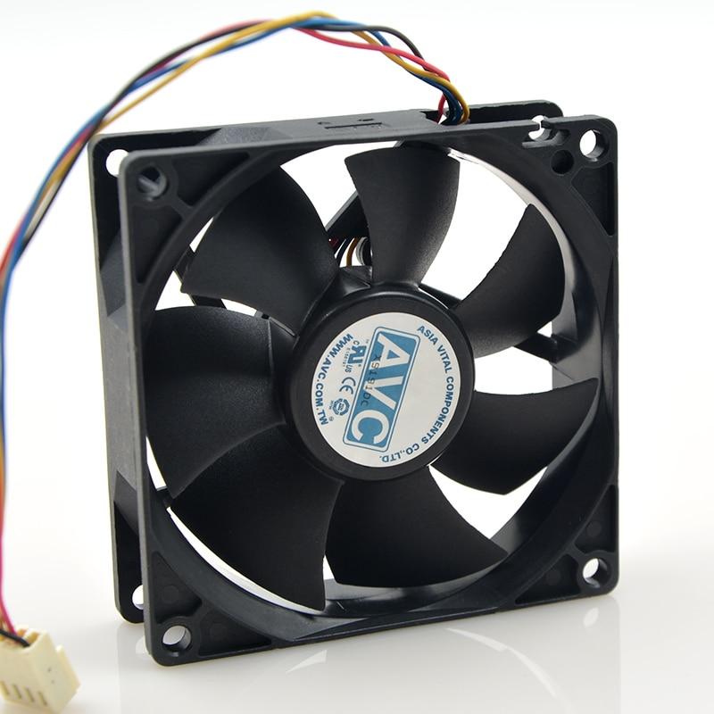 Купить с кэшбэком For AVC 8025 80mm x 80mm x 25mm DL08025R12U Hydraulic Bearing PWM Cooler Cooling Fan 12V 0.50A 4Wire 4Pin Connector