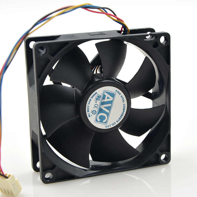 For AVC 8025 80mm x 80mm x 25mm DL08025R12U Hydraulic Bearing PWM Cooler Cooling Fan 12V 0.50A 4Wire 4Pin Connector