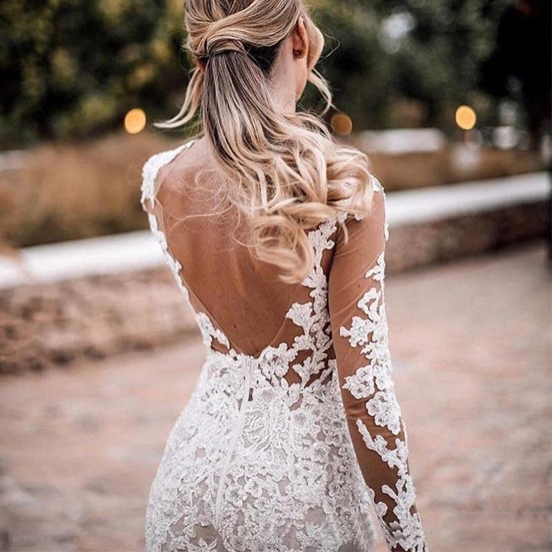 2019 Vestido de Noiva Sereia See Through 2019 Vestidos de novia Lace Querida Neck vestido de Noiva Mangas Compridas Vestidos de Casamento - 2
