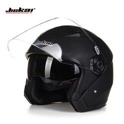 Casco moto rcycle cara abierta capacete párr moto cicleta cascos para moto de carreras Jiekai moto rcycle vintage cascos con lente dual