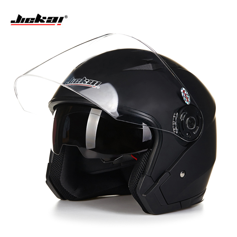 Casque moto casque ouvert visage capacete para motocicleta cascos para moto racing Jiekai moto vintage casques avec double lentille