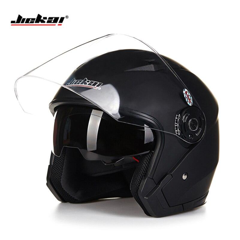 Prix pour Casque moto casque ouvert visage capacete para motocicleta cascos para moto racing Jiekai moto vintage casques avec double lentille