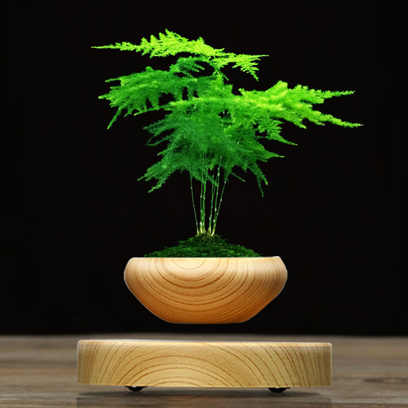 Magnetic Suspended Plant Pot Grain Round LED levitating flower pot Indoor Air Floating Pot for home office Decoration