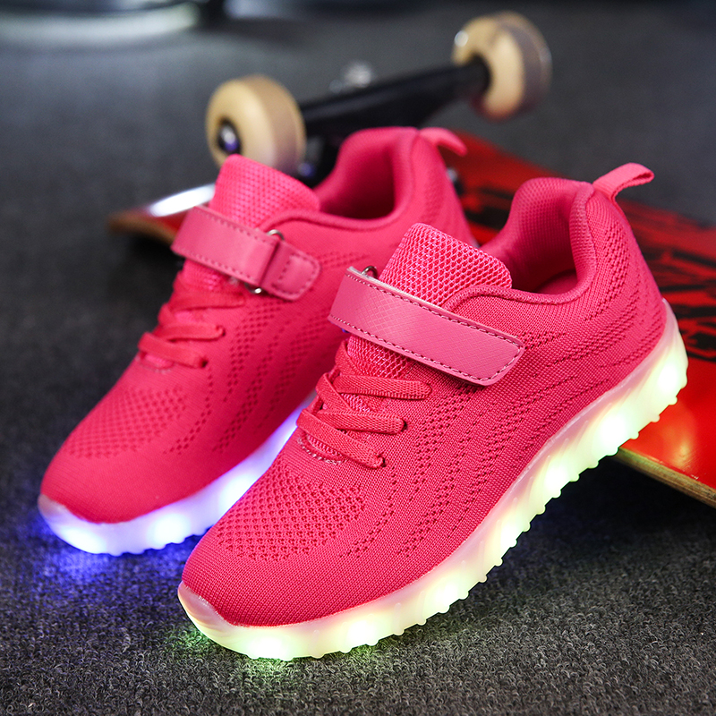 Led Children shoes girls 2017 New USB Charging Pink Shoes With Light Up Kids Casual Boys&Girls Luminous Sneakers Glowing Shoes children usb charger luminous shoes lace boys girls led light sneakers fashion kids night show casual shoes brand