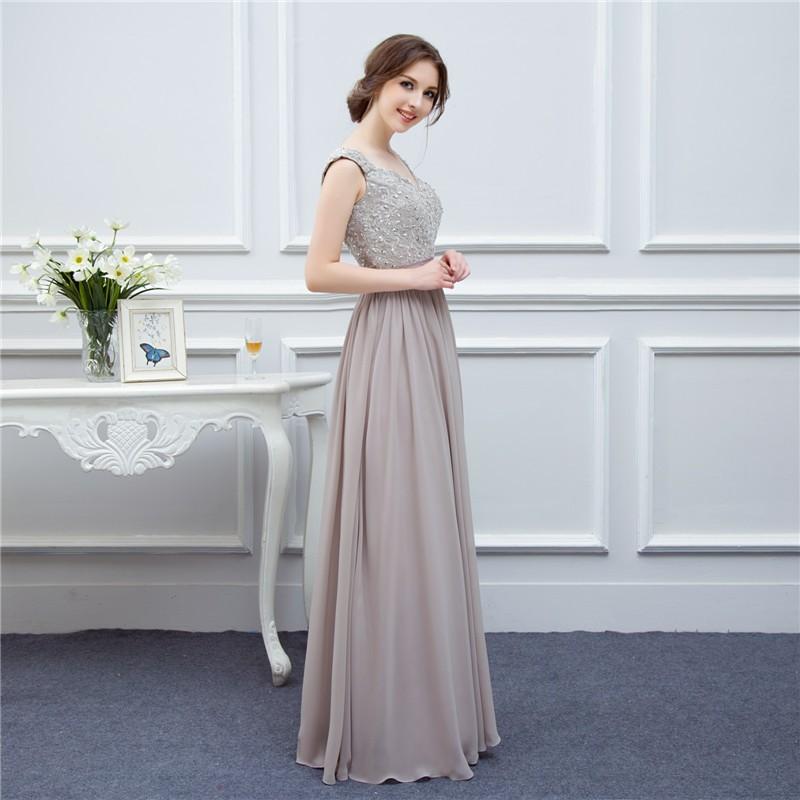 silver grey cap sleeve high quality applique floor length long chiffon bridesmaid dress wedding event dress maid of honor 4