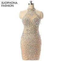 New Arrival High Neck Illusion Sexy Evening Dress 2017 Beaded Crystals Vestidos De Festa Kaftan Evening