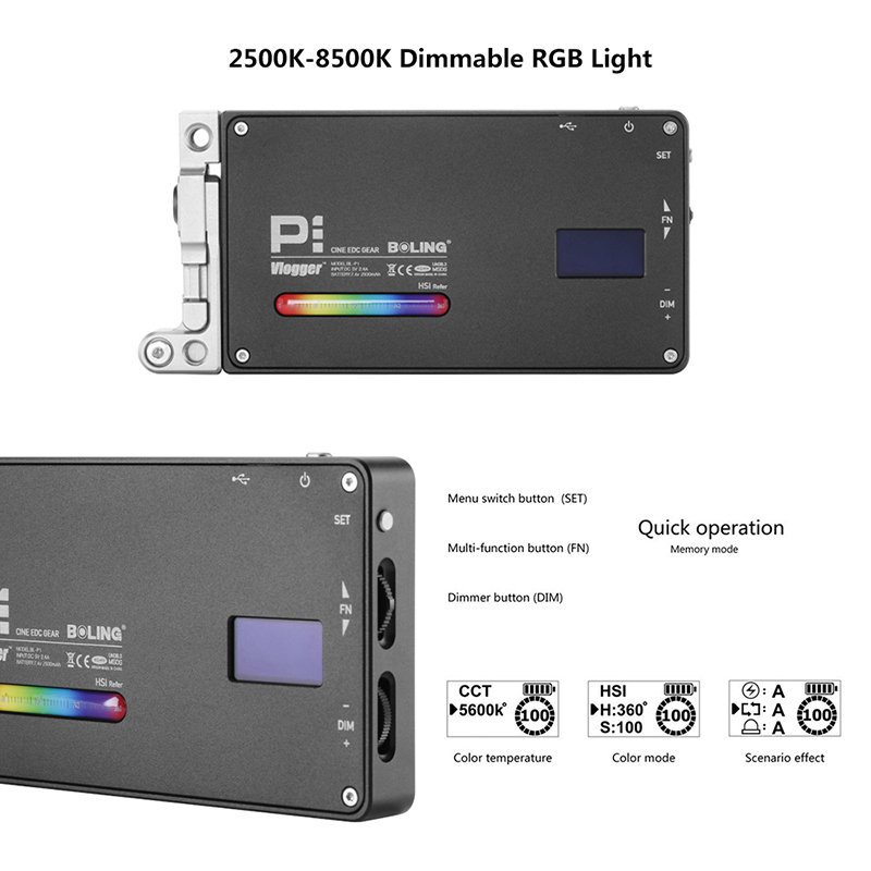 Pocket Boling BL P1 RGB LED Video Light Dimmable Full Color Studio Vlog Photography Lighting with 360 Bracket for DSLR Camera in Photographic Lighting from Consumer Electronics