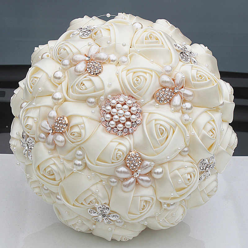 Gorgeous Crystal Ivory Wedding Bouquet Brooch Bowknot Wedding Decoration Artifical Flowers Bridal Bouquets Wedding W252-17