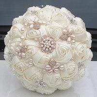 Gorgeous Crystal Ivory Bruidsboeket Broche Strik Bruiloft Decoratie Kunstmatige Bloemen Bruidsboeketten Wedding W252-17
