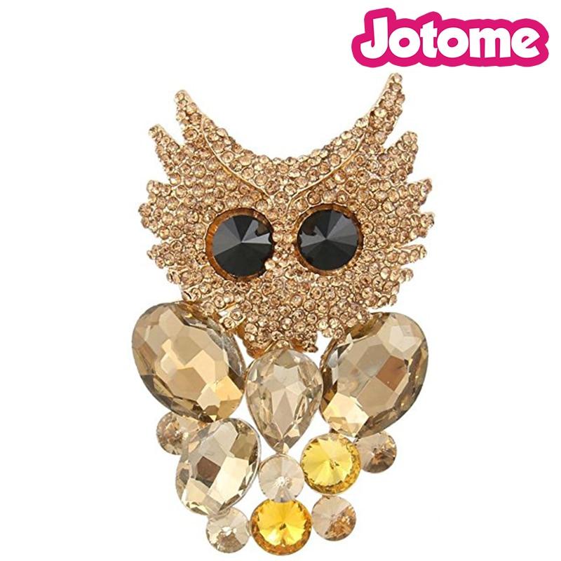 100pcs a lot Gold-Tone Austrian Brown Crystal Art Deco Cute Owl Bird Brooch