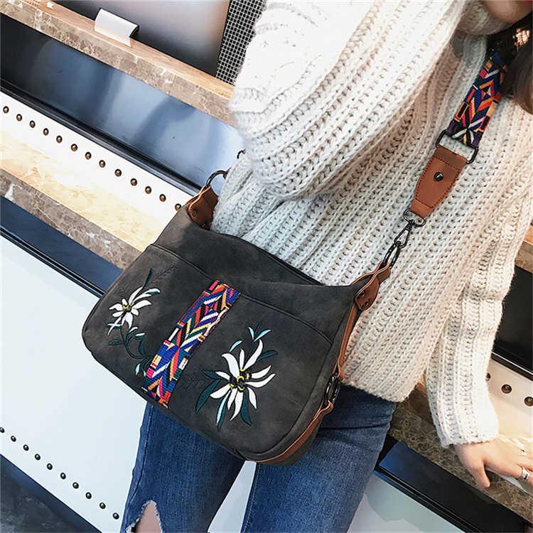 Высокое качество вышивка Scurb кожаные сумки женские вместительные Сумки на одно плечо винтажные однотонные женские сумки Bolsas