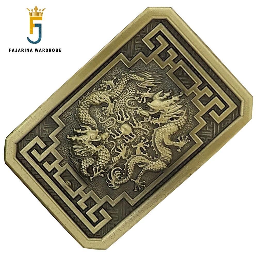 FAJARINA New Unique Design Solid Brass Buckle Only For 3.6-3.9cm Width Cowboy Double Dragon Belt Buckles Men Freeshipping BCK037