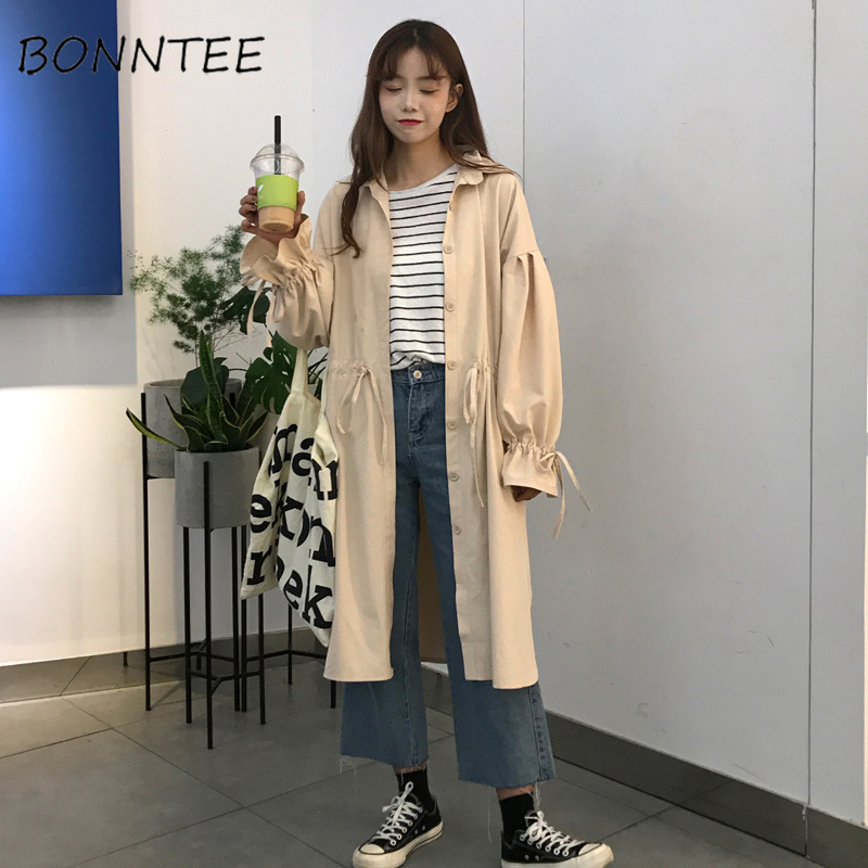 Trench   Women Loose Puff Sleeve Bow Long Leisure Overcoat Womens Single Breasted Korean Style All-match Female Daily High Quality