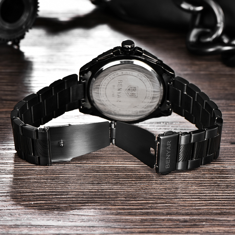 BENYAR Men 39 s Watches 2019 Watch Men Quartz Watches Top Brand Luxury Men 39 s Military Watch Chronograph Leather Band zegarek damski in Quartz Watches from Watches