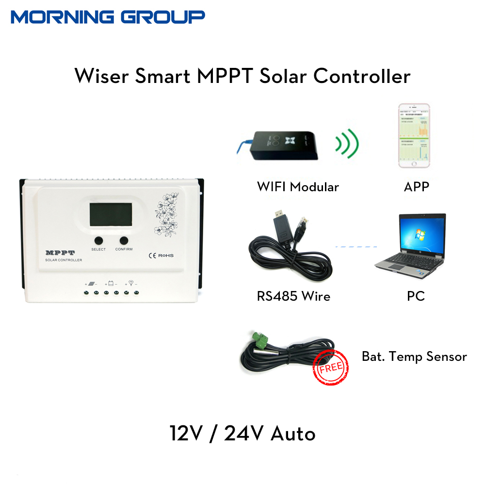 Wiser Smart MPPT Solar Charge Controller 20A 30A 40A 50A 12V 24V Auto with RS485 PV Regulator PC sofeware Mobile APP 30a mppt solar charge controller regulator tracer7810bp high efficiecny 12v 24v auto work with pc usb communication cable