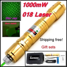 [RedStar]018 Laser set 1000mW green laser pointer starry image cap light match Golden style include 18650 battery and charger