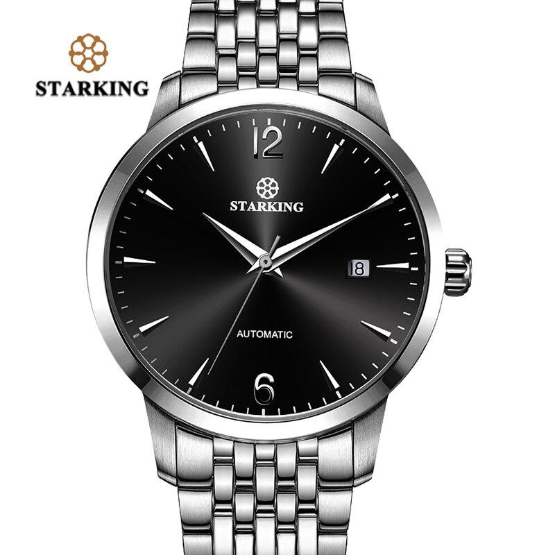 STARKING Chinois de Marque Deux Tons Boîtier en Or Mécanique Automatique Hommes Montre-Bracelet En Acier Plein Hommes Montres Simple Mâle Horloge AM0194