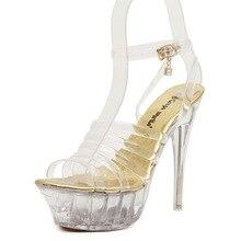 สตรีรองเท้าใหม่สไตล์แฟชั่นเจ้าหญิงโปร่งใสคริสตัลแพลตฟอร์มกันน้ำด้วยรองเท้าส้นสูง(สีส่งสุ่ม)