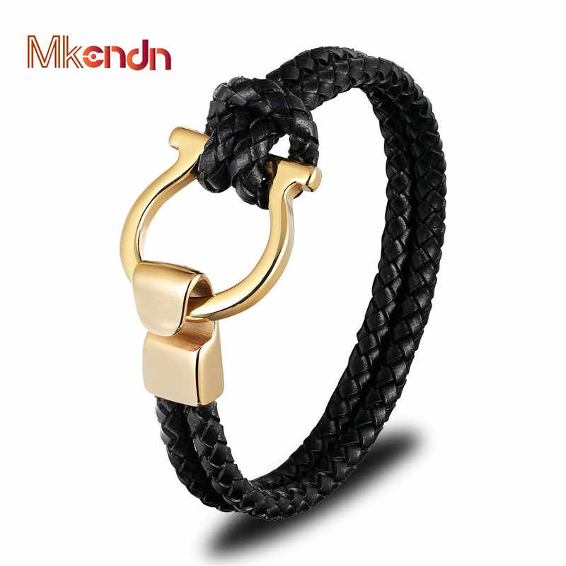MKENDN High Quality Men Jewelry Punk Black Braided Geunine Leather Bracelet Stainless Steel Anchor Buckle Fashion Bangles