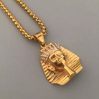 Mode NEUE Dope Alten Ägypten König Tut Pharao Anhänger Halskette Boxen Kette Titan Stahl MÄNNER Hip Hop Bling Schmuck