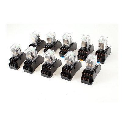 10 pces dc 12 v bobina 4pdt 14pin verde led rele de energia de uso geral