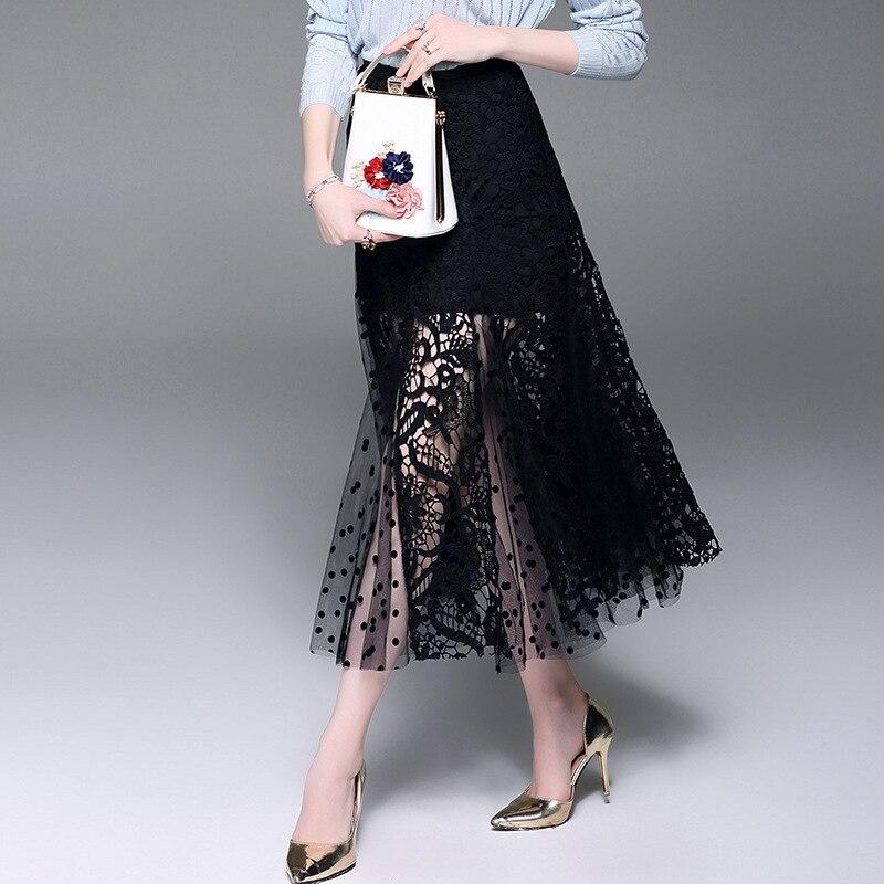 Qualité Marque Dentelle Office Solide Piste Haute ligne Printemps Femmes Noir Nouvelle Été Jupes Blanc Lady A 2018 Noir Maille blanc zZqxwgBA