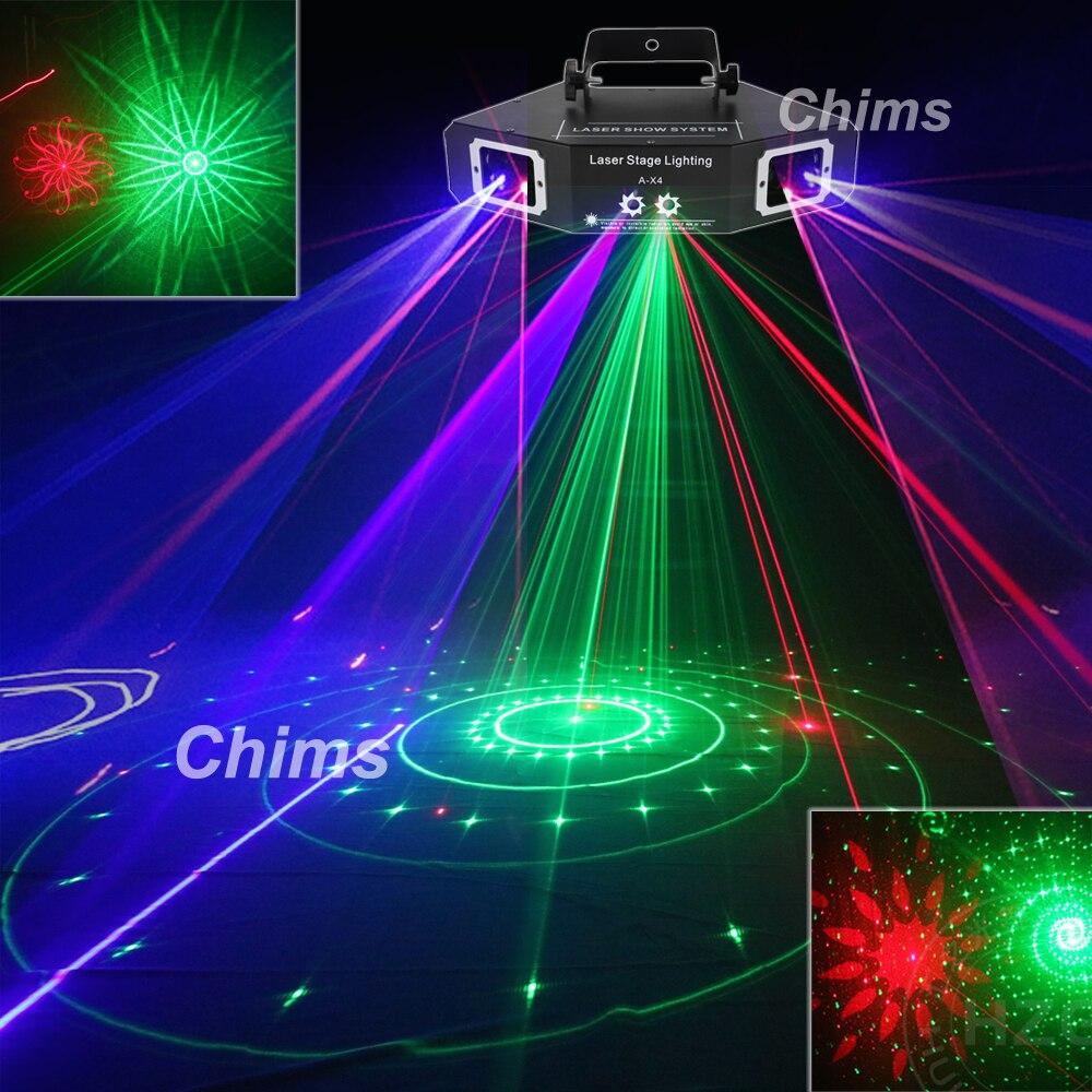 Chims DMX 4 объектива RGB Красный Зеленый Синий луч узор сеть Лазерный Свет домашний Профессиональный DJ шоу KTV Сканнер клуб сценическое освещение ...