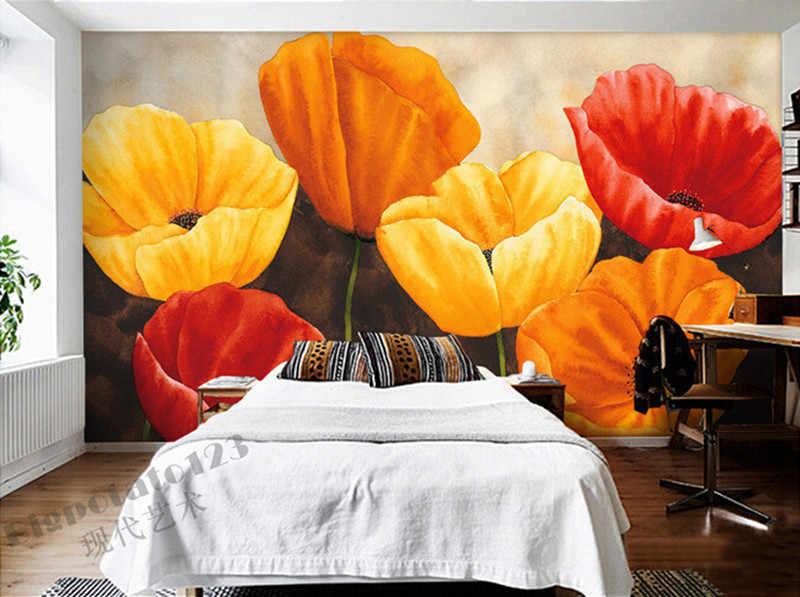 ที่กำหนดเอง3Dภาพจิตรกรรมฝาผนัง,ที่สวยงามสีเหลืองดอกทิวลิปสีแดงบลูมจิตรกรรมกระดาษde parede,ห้องนั่งเล่นโซฟาทีวีผนังกระดาษผนังห้องนอน