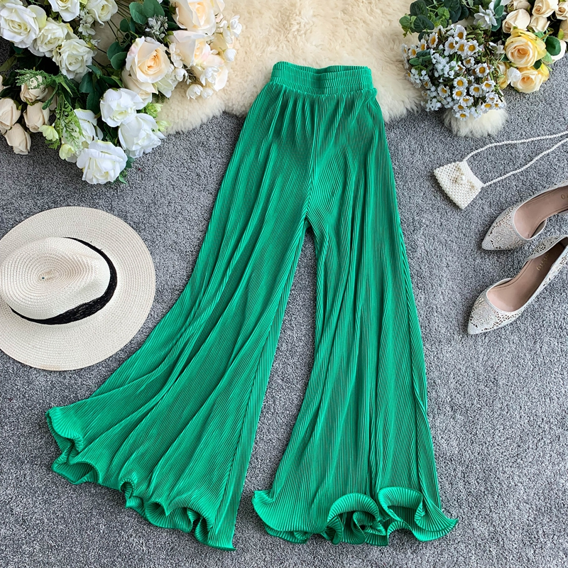 2019 new fashion women's   Wide     leg     pants   high waist pleated ruffled flared   pants