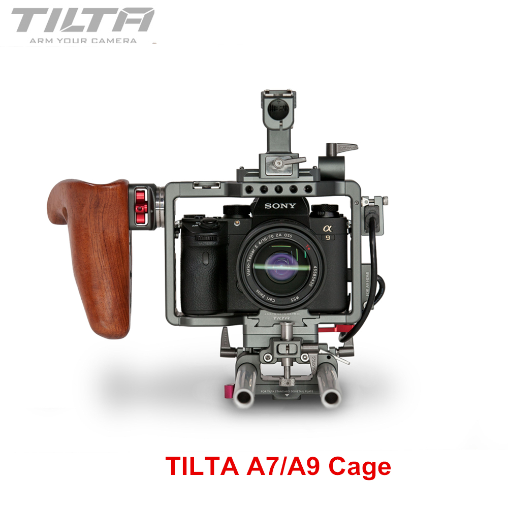 NEW Version Tilta ES-T17-A1 Rig Cage For Sony A7 A9 A7S2 A7R2 A7III A7R3 A7M3 A7S3 A9 Rig Cage For SONY A7/A9 series camera digitalfoto tilta a7 professional dslr camera rig cage with baseplate wooden handle top handle for sony a7 a7s a7s2 a7r a7r2
