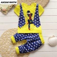 Summer Kids Fake Two 2pcs Clothes Suit Baby Boy T-shirt Top+Short Pants Outfit Set Children Gentleman Clothing Sets