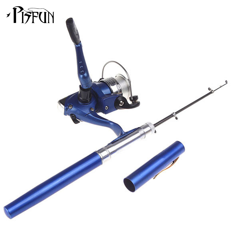 pisfun pen fishing rod mini spinning reel aluminum pocket