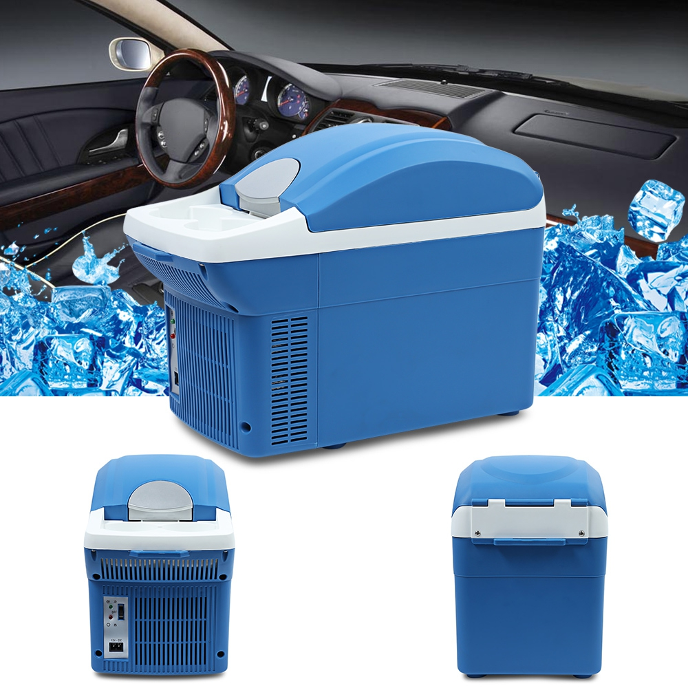 Portable 8L Capacity Mini Car Vehicle Refrigerator Freezer Dual Use Warming and Cooling Home Travel Fridge Temperature Control 7 5l car refrigerator car travel vehicular fridge dual use portable hot and cold mini heating and cooling box with cup holder