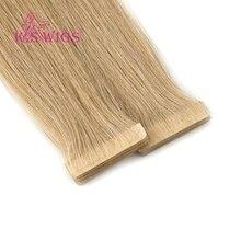 K.S парики прямые Remy человеческие волосы из искусственной кожи уток ручная вязка лента в двойном нарисованном человеческих волос 16 ''20'' 24''