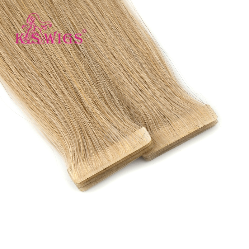 K.S WIGS Straight Remy Human Hair PU Skin Weft Hand Tied Tape In Double Drawn Human Extensions 16'' 20'' 24''