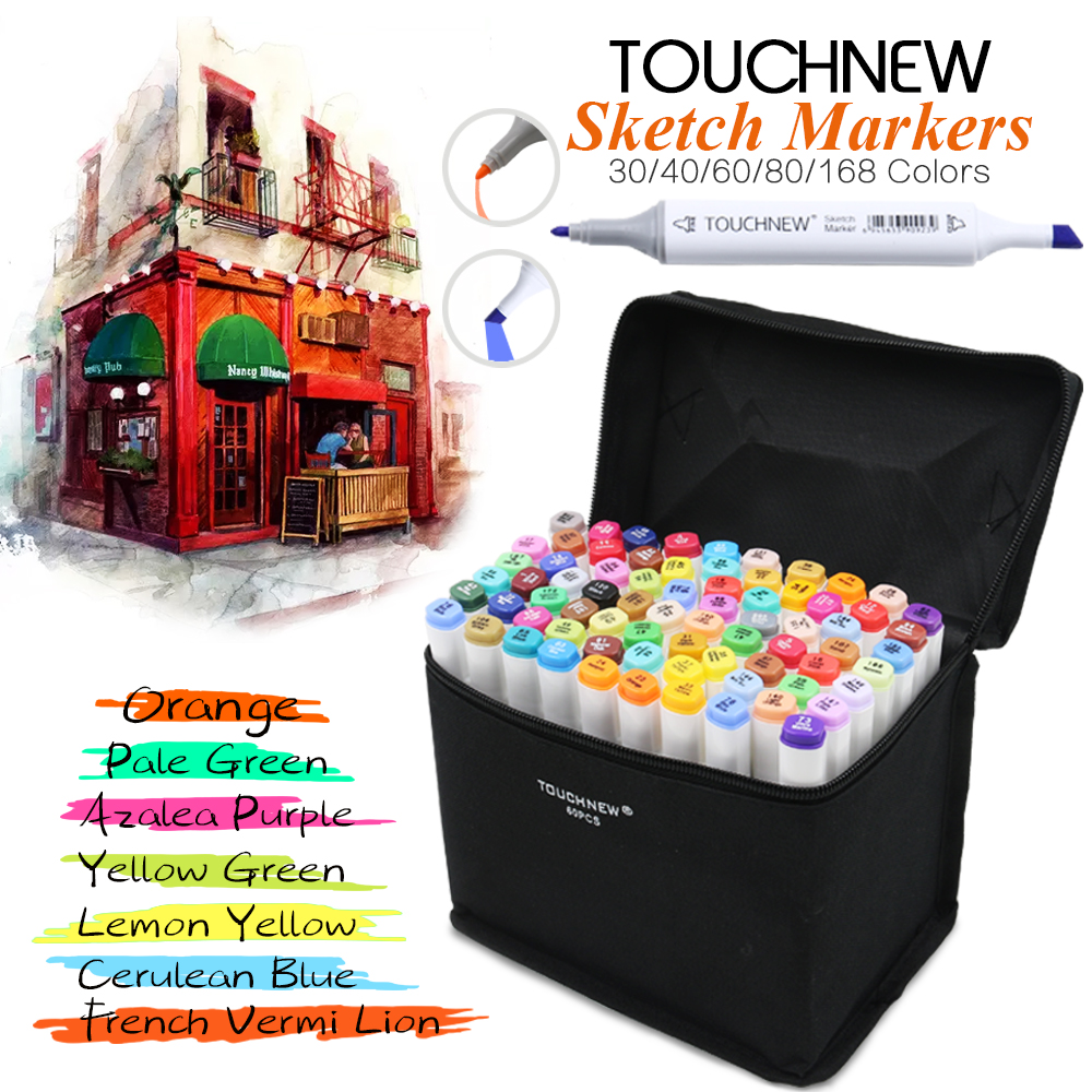 TOUCHNEW 30/40/60/80/168 Colors Artist Dual Headed Marker Set Manga Design School Drawing Sketch Markers Pen Art Supplies touchnew 36 48 60 72 168colors dual head art markers alcohol based sketch marker pen for drawing manga design supplies