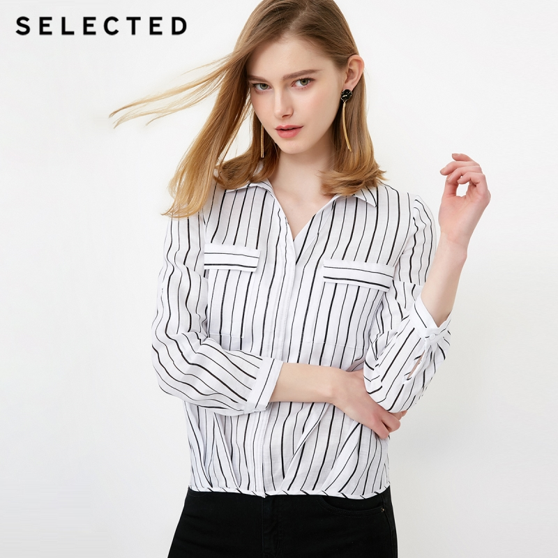 SELECTED Women s Roll up Sleeves Striped Turn down Collar Long sleeved Shirt S 418205506