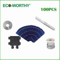 100pcs 156*58.5mm Mono Solar Cell Kits Monocrystalline Photovoltaic Silicon Solar Cells High Efficiency 6x2 for DIY Solar Panel