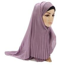 Yeni Tasarım Pilili Malezya Türban Tudung Kabarcık şifon eşarp Müslüman Kadın Şal Buruşuk Şal Atkılar Başörtüsü 85*180 cm