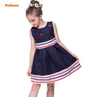 DzBoom 2017 New Summer Girls Dress Bow Striped Dress Vestidos Teenagers Princess Cute Party Dress For