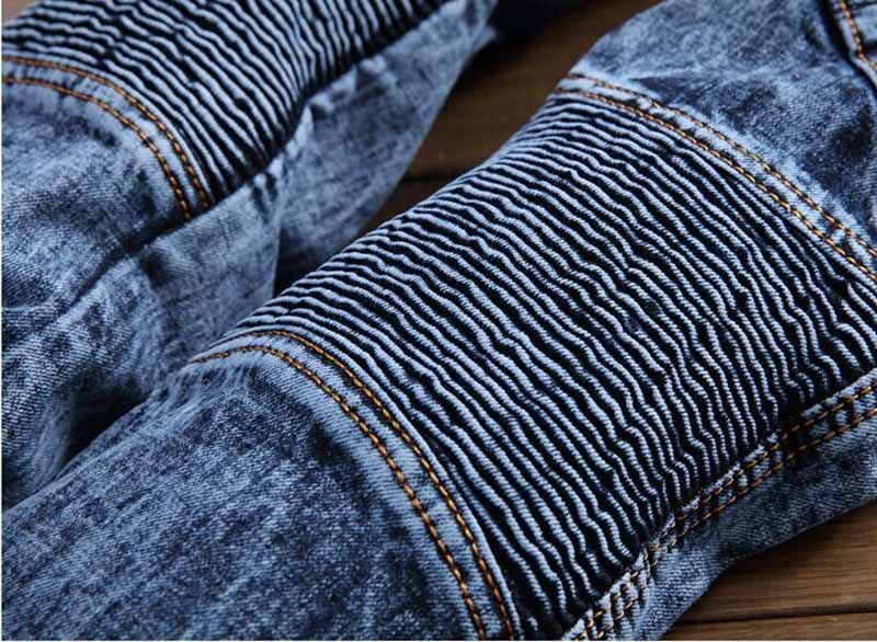 Newsosoo 2018 Hi-street Men\'s Denim Jeans Motorcycle Slim Fit Casual Washed Jeans Pants Male Fashion Trousers (6)
