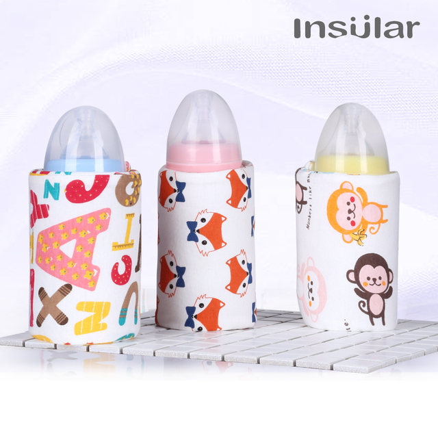 Insular Small Portable USB Charge Thermos Bottle Warmer Bag Adjustable Travel Chargeable Food Heater Washable Bottle Wraps Easy