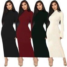 264ddd37d8 Kobiet dzianiny Sexy Bodycon bandaża sukni z długim rękawem Lace Up Sexy  kobiety długa sukienka w