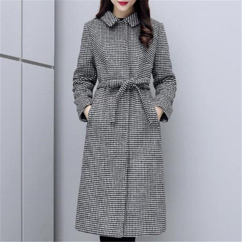 Qualité Nouveau Manteau Color Femmes Mode Survêtement Femelle De Plaid Haute Longue Printemps Parka Automne A0648 Photo Laine Veste Grande Mince Taille wapwACxrq