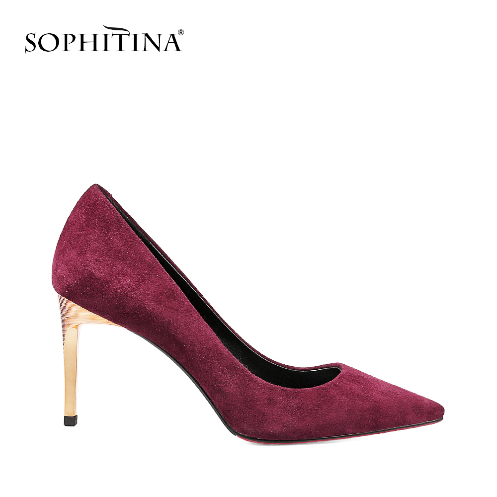 SOPHITINA Thin High Heels Pumps Wine Red Sheep Suede High Quality Pointed Toe Ladies Pumps Shallow Party Wedding Shoes Women W01 high quality suede wedding party dress shoes women pointed toe stiletto brand pumps bow fringe embellished high brands