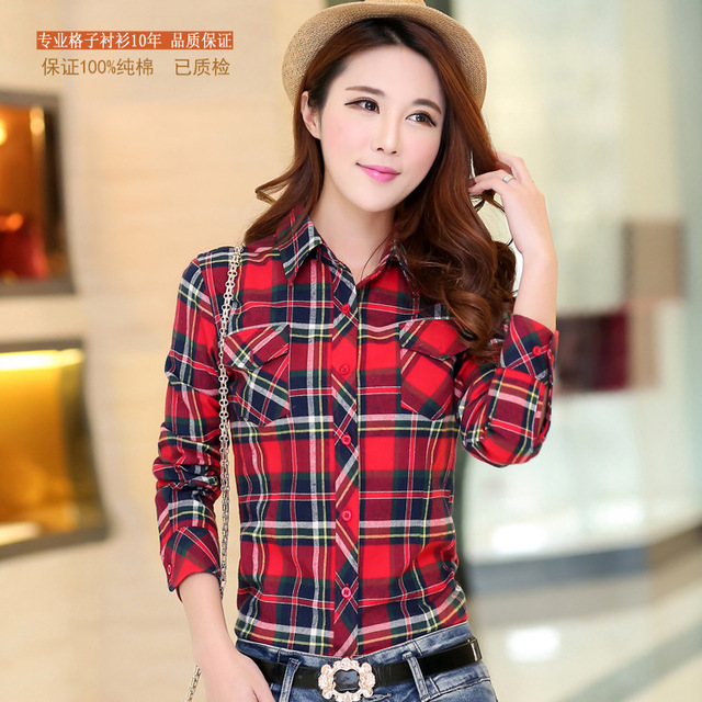 2018 Autumn New Arrival Flannel Plaid Shirt Women Casual Cotton Plus Size Long Sleeve Blouses Shirts Clothing Girl College Style Women Shirts