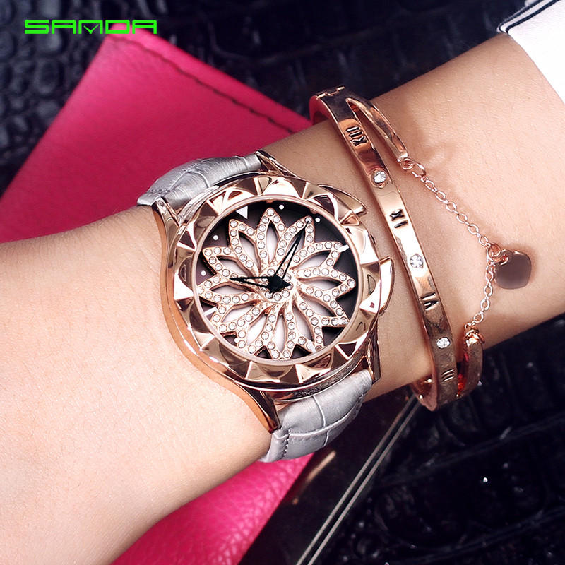 SANDA Creative Rotate Dial Wrist Watch Women Fashion Leather Quartz Watches Bracelet Clock Female Ladies Watch Relogio Feminino julius women quartz clock watches stainless steel mesh belt ladies bracelet wrist watch thin dial female watch relogio feminino