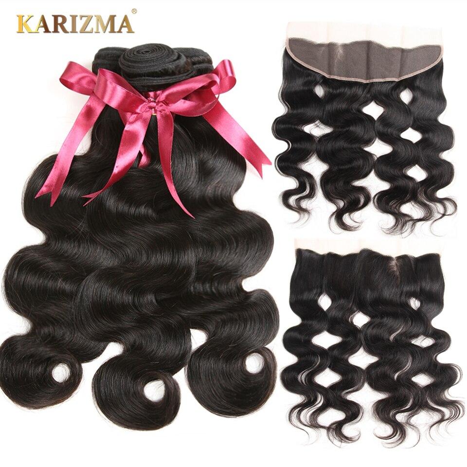 Karizma 13x4 תחרה פרונטאלית סגר עם חבילות 4 יחידות ברזילאי גוף גל שיער טבעי 3 חבילות עם סגירה חזיתית ללא רמי שיער