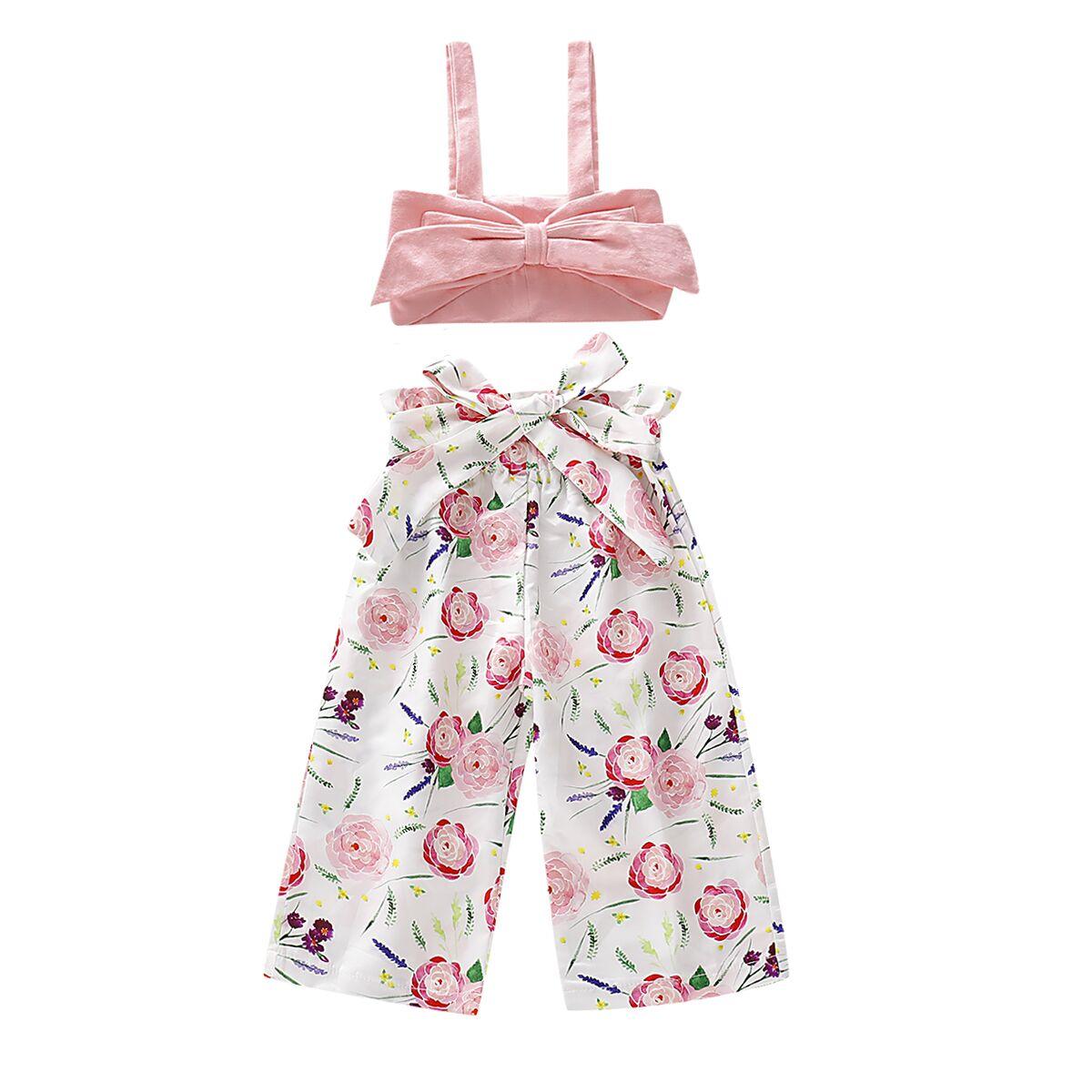 d7b0e18f 0-5Y Summer Infant Baby Girl Kids Floral Clothes Sets Sleeveless T shirt  Vest Pants Outfits Clothes 2PCS ~ Super Deal June 2019